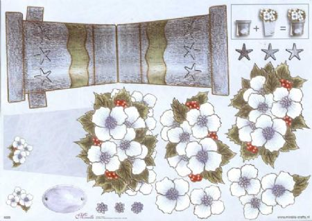 Christmas Flower Stand Up 3d Decoupage Sheet
